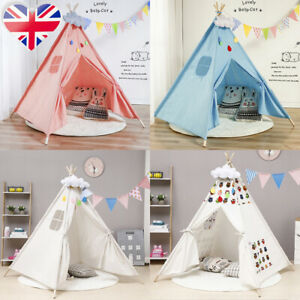 Foldable Teepee Tent for Kids Indoor & Outdoor Canvas Playhouse Girls Boys Gift
