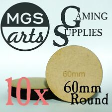 10x 60mm Round MDF Miniature Bases FREE US SHIPPING!!