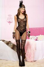 Burlesque Black Floral Lace String Body Bodystocking Pantyhose Bodysuit