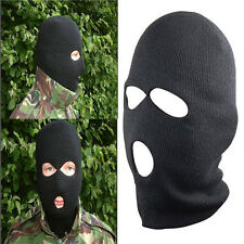 Men's Black Wool SAS Style 3 Hole Fangle Balaclava Army Mask Outdoor Cool Hat
