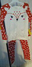 Cat & Jack Girls Size 6 Dream Deer Long Sleeve Kids Pajamas 2pc Set Cotton Nwt