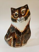 Cats By Nina Lyman Hand Painted Ceramic Brown & White Striped Kitty Vase 8""