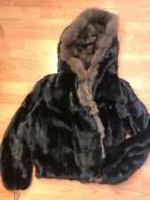 Real mink fur coat with sable hood Italy size S-L