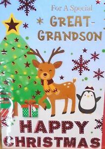 GREAT GRANDSON CHRISTMAS CARD ~ Fun Modern Reindeer & Penguin By Christmas Tree