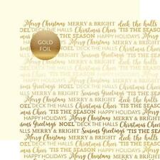 """Carta Bella - Holiday Sentiments CREAM - 12x12"""" silver foil s/sided paper - Xmas"""
