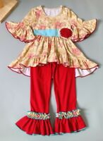 NEW Boutique Girls Floral Beige Tunic Dress Red Ruffle Leggings Outfit