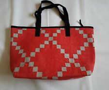 Large shoulder bag from cotton rug red and silver zari christmas gift