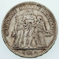 1849-A France 5 Francs Silver Coin in VF Condition KM #756.1