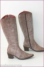 ROSA LIPTY Bottes Cuir reliefs Taupe T 37 TBE