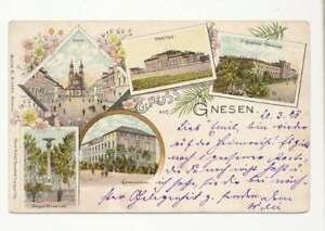 AK Gruss aus Gnesen, Farblitho Mehrbildkarte, als Bahnpost gelaufen 1898 (51232)