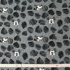 0,5m Baumwolljersey Jersey Baumwolle Disney Mickey Maus Kopf grau Stoff Swafing