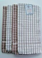 4 American Mills Kitchen Towels / Dish Towels Beige and White 100 pc Cotton