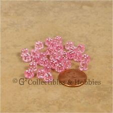 NEW 5mm Deluxe Rounded Edge 30 MINI Dice Transparent Pink RPG Game Tiny D6 Set