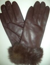 Ladies Thinsulate Fur Cuffed Leather Gloves,Medium, Brown