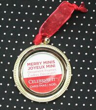 Celebrate it Merry Minis Christmas Ornament Frame Gold Round C3