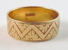 100% Genuine Vintage 18k Solid Yellow Gold Patterned WENDT wedder Band Ring Sz 8