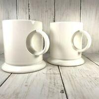 Inset Handles Cutout Coffee Cups White Unique MARTHA STEWART PROP rare