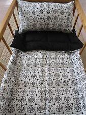 2 Piece Black & White Doll Bedding Set Blanket Pillow for Doll Crib Handmade NEW