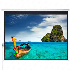 """100"""" Electric Motorized Projection Screen HD Movie Projector White 16:9"""