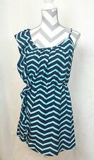 ENVY ME WOMENS SHIRT DRESS CHEVRON TURQUOISE NAVY LARGE ASYMMETRICAL NWT A10