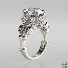 4.50CT ROUND CUT WHITE DIAMOND 925 SIVLER FOUR SKULL ENGAGEMENT BRIDAL RING