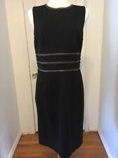 NWOT Black Ralph Lauren Work Dress W/ Leather Inserts Size 14
