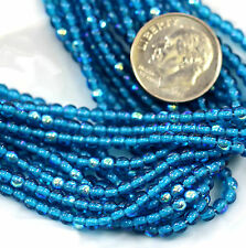 Round Beads, 3mm, Dark Aqua Blue, With Ab Finish, Czech Glass Beads, 50 Pcs