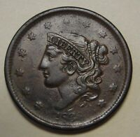 1838 Coronet Head Large Cent Grading VF Weak Date Chocolate Brown Surfaces   z7