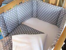 Cushi Culle per bambini altalena culla paraurti e Set Piumone Set Stelle Bianco su Grigio Nuovo