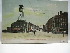 1900 POSTCARD LOOKING UP MAIN STREET, LOCKPORT NY STORE FRONTS, LOCKPORT CANCEL
