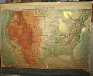 1927 DENOYER-GEPPERT Pull Down School Map S1ar United States