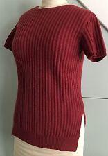 BRUNELLO CUCINELLI Rust /Red 100% Cashmere Short Sleeve Sweater Top sz XS