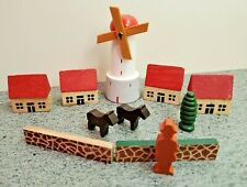 Vintage 11 Piece Wood Putz Village Set With Houses and Windmill, Germany