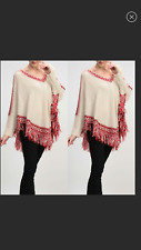 Womens Knitted Ivory Red Sleeved Poncho Fringe Moon Collection Size Large   NWT
