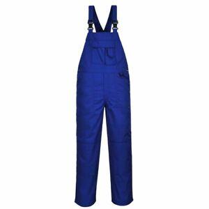 Portwest - 9 Pocket Workwear Bib and Brace Dungarees Royal Medium