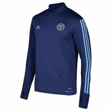 Camisetas de fútbol de manga larga para hombres azules