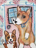 Corgi Waving Goodbye Original Painting 9 x 12 Dog Collectible Vintage Style Art
