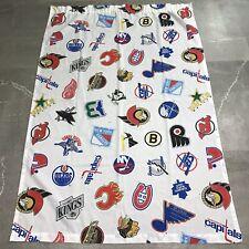 Vtg 90s NHL Hockey Logo Pair Rod Pocket Curtain Panels 84 X 63 Whalers Nordiques