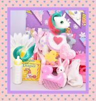 ❤️My Little Pony MLP G1 Vtg Baby Gusty Beddy Bye Unicorn BBE Accessories❤️