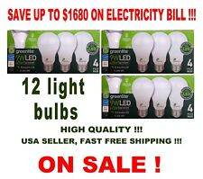 12 LED Light Bulbs GREENLITE 9W/60W Equivalent Soft White (3000K) A19 Dimmable