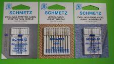 Nähmaschinen Nadeln SCHMETZ Jersey-Stritch, Jeans Nadel Zwillingsnadel Combi Set