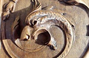 Gorgeous Pair Antique Vintage Walnut Interior Wood Panel Animal Foliage Carving