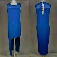 "Boohoo Women Long "" Jenny"" Mesh Sleevless Asymmetric Dress Blue Cobalt UK 8 New"