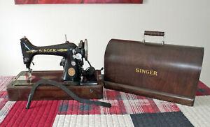 1920 SINGER 16k Portable Sewing Machine w/Bentwood Case ~ Great Britain