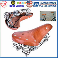 Retro Vintage Bicycle Bike Cycle PU Leather Saddle Seat Spring Comfort Seat NEW