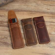 1X Fountain Pen Cowhide Leather Protector Pen Holder  Pen Case for 3 Pens