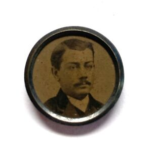 Antique Button ~ Awesome 19th Century Tintype with Man w Mustache