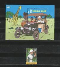 Belgium 2001 -  Tintin in Congo stamp+souvenir sheet mnh