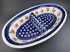 "Boleslawieck Polish Pottery Divided Dish ~12"" (B11)"
