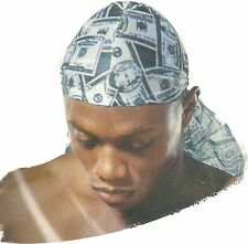 $100$50 money  sport head liner rag durag SKULL CAP HAT Nylon Tie Down long tail